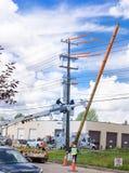 Работа замены опоры линии электропередач Стоковое Изображение RF