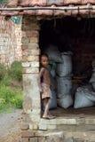 работа индейца поля ребенка кирпича Стоковое фото RF