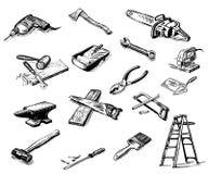 работа инструментов человека Иллюстрация штока