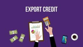 Работа и расчетливый экспортный кредит на таблице с верхней частью калькулятора денег иллюстрации иллюстрация вектора