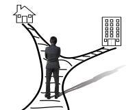 Работа и семья балансируют вид сзади концепции пробовать бизнесмена Стоковые Фотографии RF