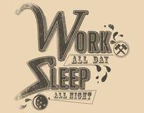 Работа и сон иллюстрация штока
