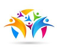 Работа команды соединения людей празднуя дизайн логотипа элемента значка символа логотипа торжества здоровья счастья здоровый на  иллюстрация штока