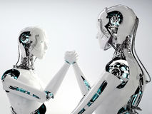 Работа команды людей андроида робота иллюстрация штока
