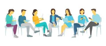 Работа 7 людей установленная сидя на людях и женщинах стульев Стоковые Изображения
