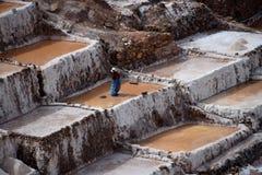 Работа на солевых рудниках Maras Стоковая Фотография RF