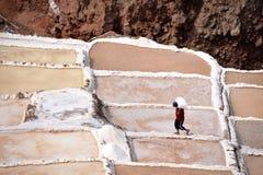 Работа на солевых рудниках Maras Стоковые Фотографии RF