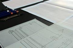 Работа на техническом чертеже Стоковое Фото