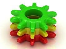 работа принципиальной схемы 3d представленная изображением Зеленые, желтые и красные шестерни Стоковые Фото