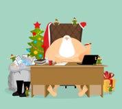 Работа Санта Клауса Письма от детей Большой мешок почты охватывает Стоковые Изображения