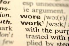 Работа слова в словаре Стоковое Фото