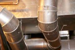 Работа трубопровода металла для нагревать и кондиционера Стоковое фото RF