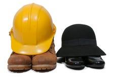 работа трудного шлема ботинок Стоковое Фото