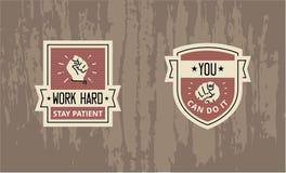 Работа трудно- вы можете сделать его - мотивационный дизайн значка иллюстрация штока