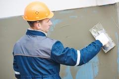 Работа фасада Стеклоткань усиливая штукатурящ сетка используемая для работы гипсолита стоковые фотографии rf