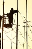 работа человека электрика Стоковое Фото