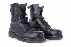 работа черной кожи ботинок старая стоковая фотография rf