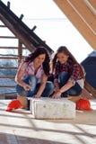 2 работника молодых женщин на крыше Стоковая Фотография RF