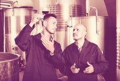 2 работника на фабрике вина Стоковое фото RF