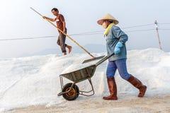 2 работника на Hon Khoi солят поля в Nha Trang, Вьетнаме Стоковая Фотография