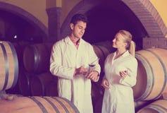 2 работника дома вина проверяя качество продукта Стоковые Изображения