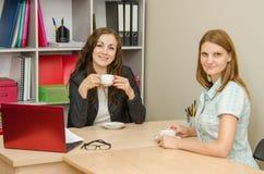 2 работника чая офиса выпивая Стоковая Фотография