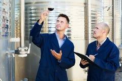 Работники беря образец вина примечаний Стоковые Фотографии RF