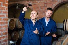 Работники беря образец вина примечаний Стоковая Фотография RF