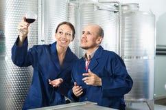 Работники винодельни держа стеклянными в фабрике вина Стоковые Изображения