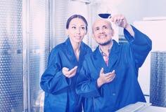 Работники винодельни держа стеклянными в фабрике вина Стоковое Изображение