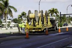 Работники делая работу улицы на пляже Голливуда Стоковое Изображение RF