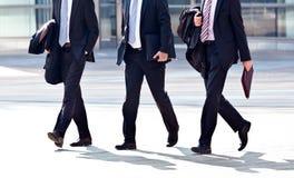 Работники идя против офиса. Панорама. Стоковое Фото