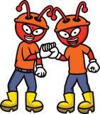 Работники муравья тряся шарж рук Стоковая Фотография RF