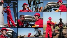 Работники нефтяной промышленности нефти и газ сток-видео