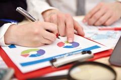 Работники обсуждая диаграмму дела в офисе Стоковое Фото