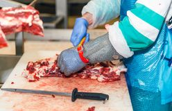 Работники скотобойни мяса вырезывания в фабрике мяса Стоковое Фото