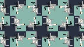 Работники шаржа в кабинах печатая работу в офисе акции видеоматериалы
