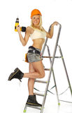 работник белокурой конструкции женский сексуальный Стоковые Фото