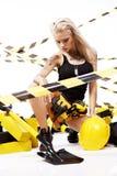 работник белокурой конструкции сексуальный Стоковое Фото