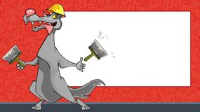 Работник волка мультфильма смешной со шпателями на предпосылке пусто бесплатная иллюстрация