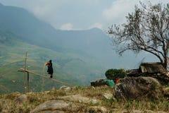 работник Вьетнама sapa риса зоны Стоковое Фото