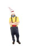 Работник в шляпе с респиратором. стоковое изображение rf