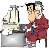 работник домашнего офиса иллюстрация вектора