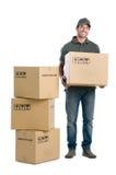 работник доставляющий покупки на дом Стоковое фото RF
