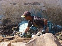 Работник дубильни в Marrakech Марокко Стоковые Изображения RF