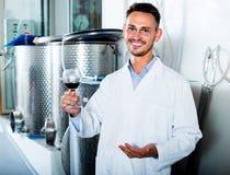 Работник держа бокал вина Стоковое Изображение