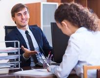 Работник имея собеседование для приема на работу Стоковая Фотография RF