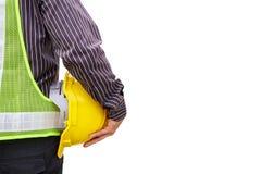 Работник инженера с светокопией и шлемом безопасности Стоковые Изображения RF