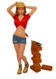 работник каменщика девушки Стоковое Изображение RF