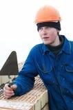 работник каменщика слоя строителя кирпича стоковое изображение rf